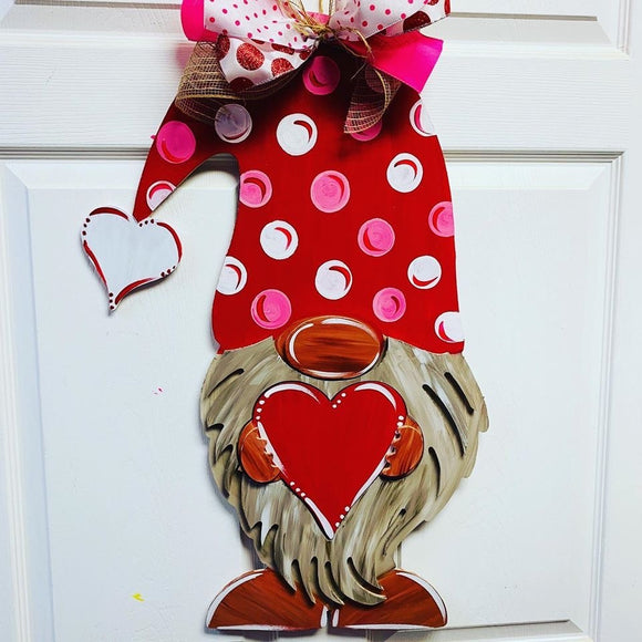 Gnome holding a heart, Valentine Decor Wood Door Hanger