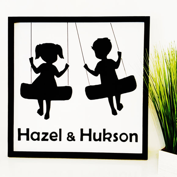 "Kids Swinging Wood  Sign  FRAMED, Personalized(24""x 24""shown in picture)"