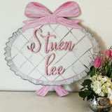 Nursery Plaque with Bow, Name Overlay, Painted Baby Room Decor