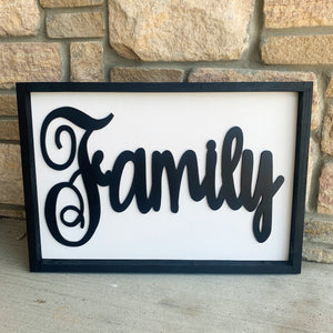 "Family Word Sign FRAMED (16 ""x 24""shown in picture)"