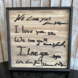 Handwritten I love you Sign, Create your own sign, Choose your colors,  Customizable,  Home Decor