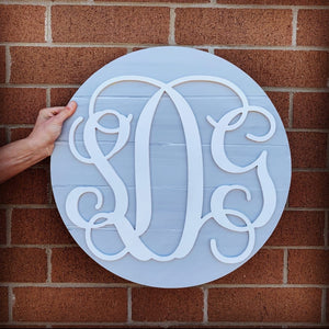 3D Round Wood Monogram Sign, Personalized Nursery Sign, Girl Monogram, Girl Nursery Decor, Baby Girl Nursery Sign