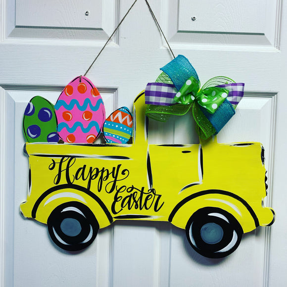 Easter Truck with Easter eggs wooden door hanger