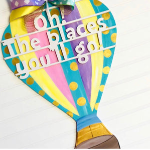 Hot Air Balloon Customizable Door Hanger