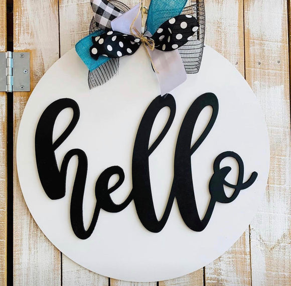 Hello with Circle Backing, Customizable Door Hanger, Choose Word (s)