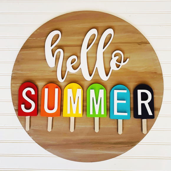 Hello Summer Circle with Popsicles , Summer Decor, Craft Shapes, Wooden Cutouts