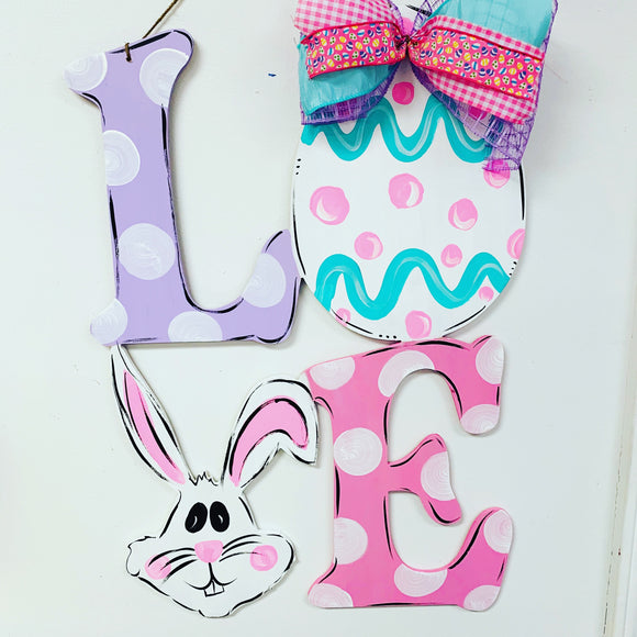 Easter LOVE with bunny and egg wooden door hanger