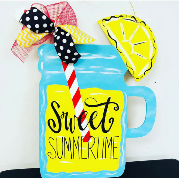 Mason Jar with Lemon and Straw, Wooden Cutout Wood, Door Hanger Wooden Blank
