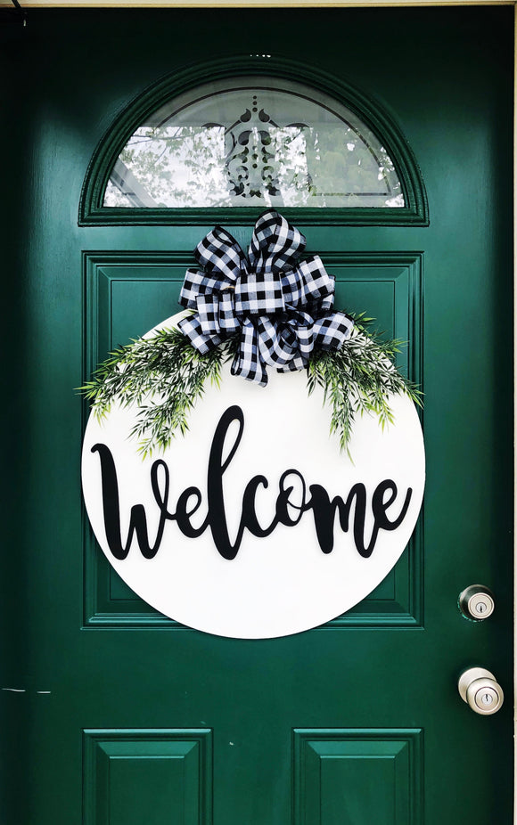 Welcome/Hello/ last name etc. Circle  background  Customizable Door Hanger Custom Home Decor