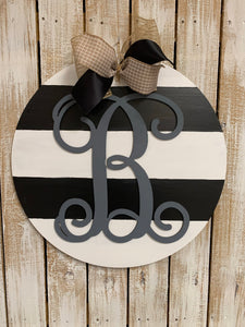 Circle Backing with stripes, Monogram letter overlay Customizable Door Hanger, Choose Word (s)