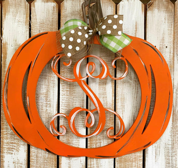 Pumpkin Monogram Painted,Fall Customizable Door Hanger,  Fall Home Decor