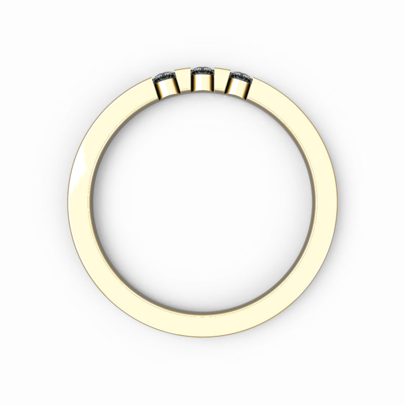 Memoire-Ring mit 3 Diamanten in Balkenfassung (insg. 0,12ct.)