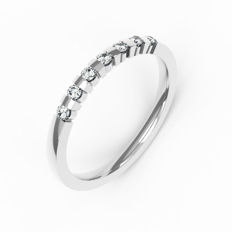 Memoire-Ring mit 7 Diamanten in Balkenfassung (insg. 0,14ct.)