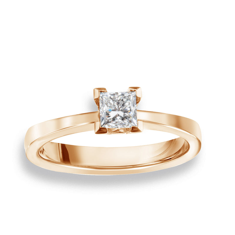 Solitaire-Ring • 0,41ct Prinzess-Schliff