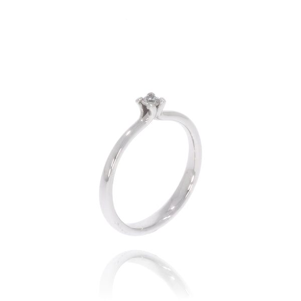 "Solitaire-Ring ""Welle medium"" mit 0,10ct. Diamant"
