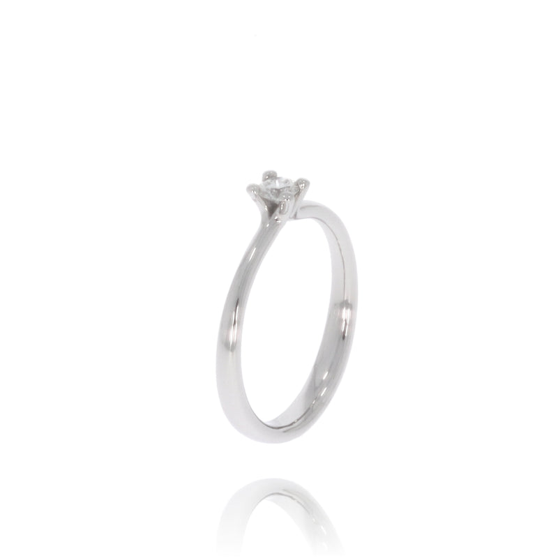 "Solitaire-Ring ""Welle medium"" mit 0,15ct. Diamant"