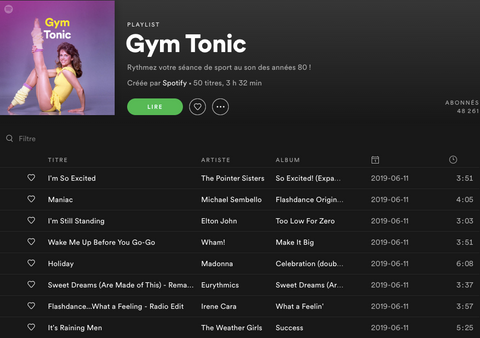 Playlist fitness pilates Gym Tonic Anima Athletica