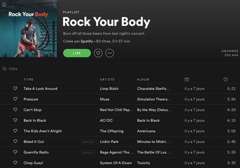Playlist fitness running Rock your body Anima Athletica