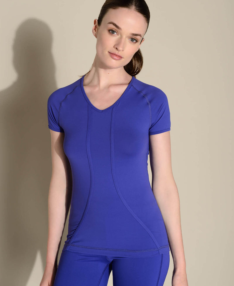 Tee Bagatelle V-Blue sport femme yoga confort Anima Athletica