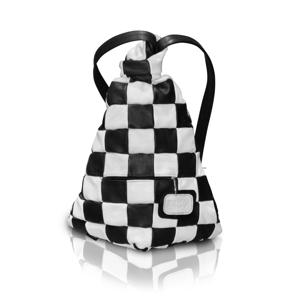 checkered black and white backpack
