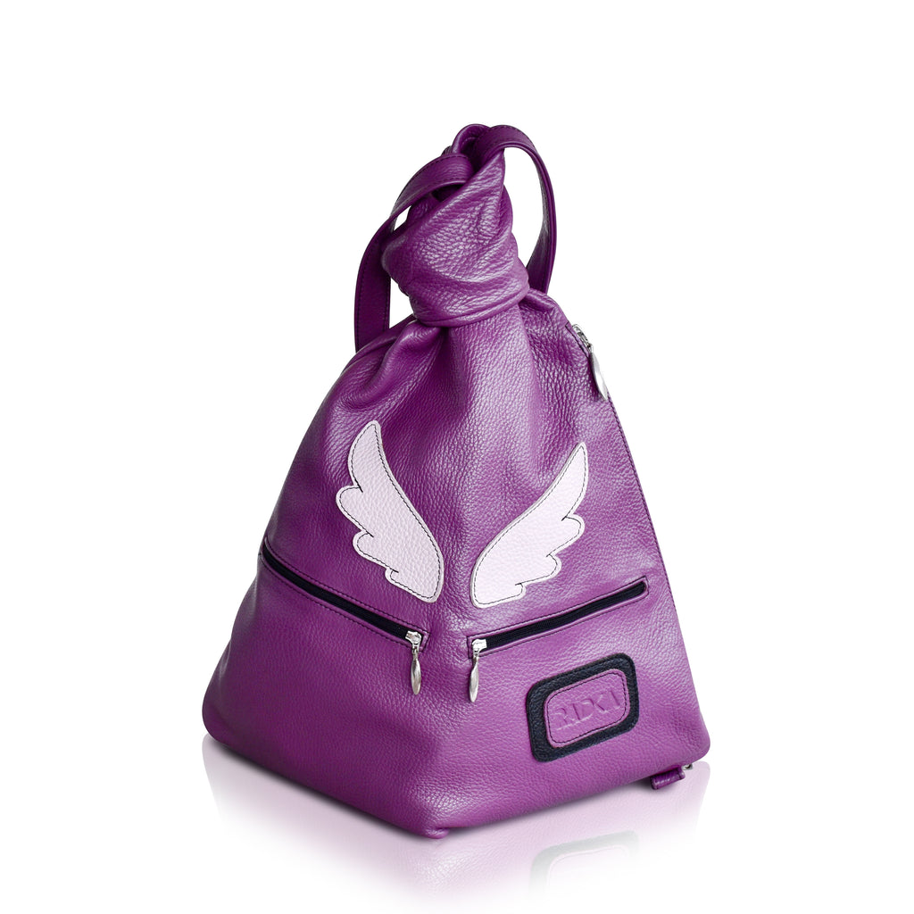 violet purple leather backpack with angel wings