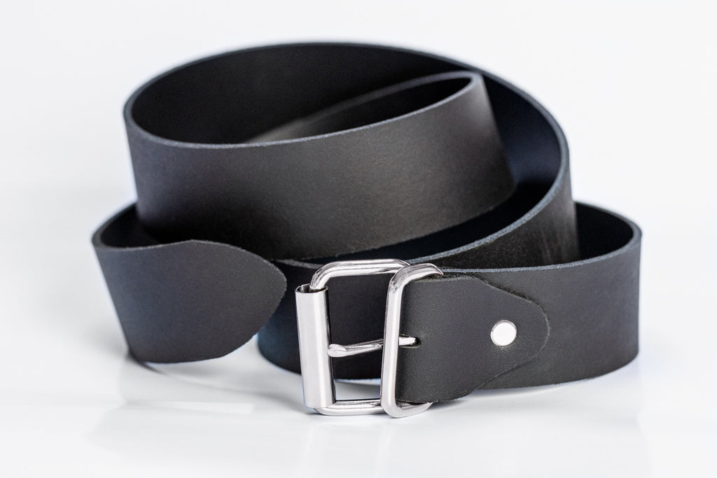 luxury black leather belt