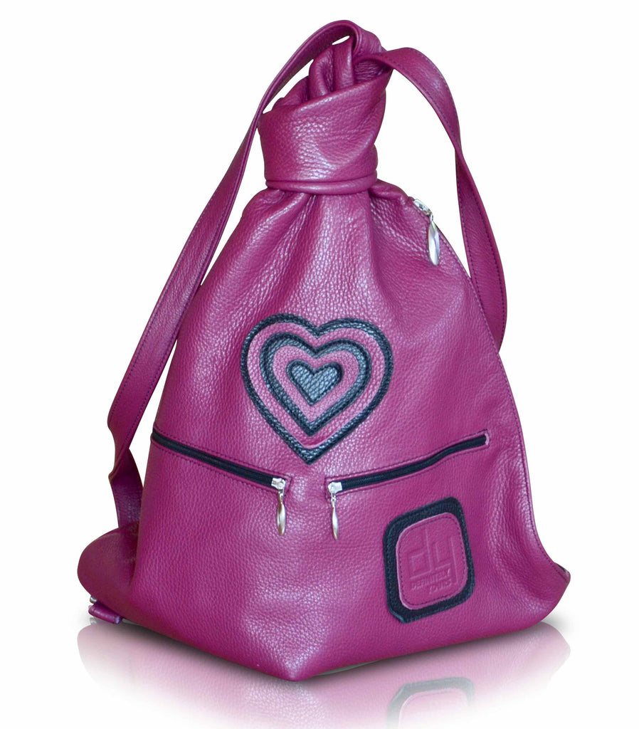 Dark pink leather backpack with heart