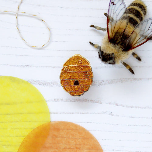 Bee Hive Enamel Pin