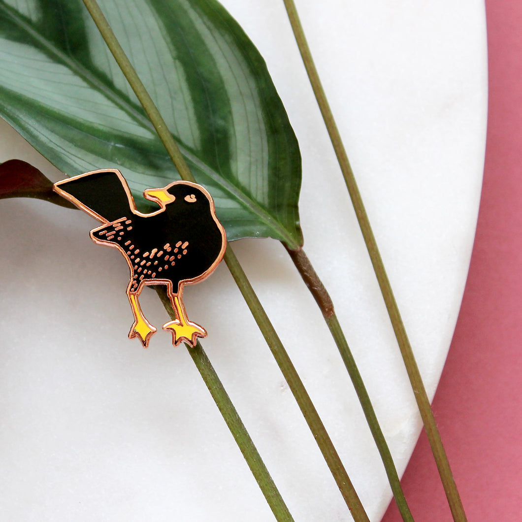 SECONDS Blackbird Enamel Pin