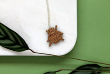 Cherry Wood Scarab Beetle Necklace