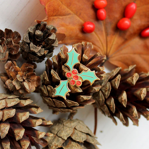 Christmas Holly Enamel Pin