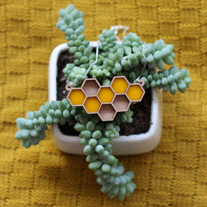 Yellow Honeycomb Necklace