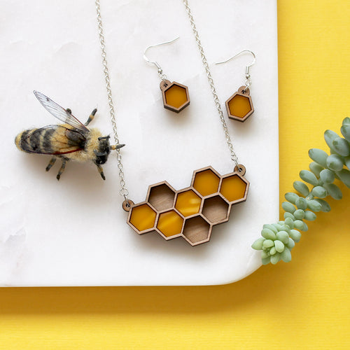 Yellow Honeycomb Necklace and Earring Set