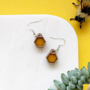 Yellow Honeycomb Earrings