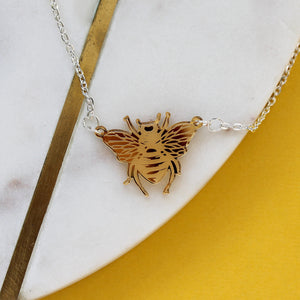Engraved Bee Gold Mirror