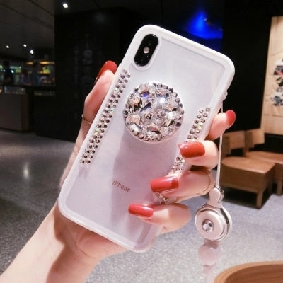2018 Hot Selling Luxury Fashion Airbag Diamond Bracket Phone Cases For Samsung S7 S8 S9 S7edge S9Plus N5 N8 J730 J530 J330 A520