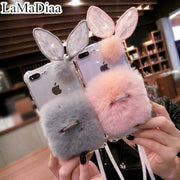 3D Cute Rabbit Hairy Warm Fur Case For IPhone X 6 6S 6Plus 7 8 Plus Bling Ring Holder Plush Bunny Cover For IPhone 7 8 For Girls