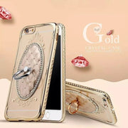 3D Gold Plating Case Bling Diamonds TPU Soft Ring Back Case Cover For IPhone 6 6S/ 6S Plus/7/Plus/5 5S/SE With Stand Ring Hold