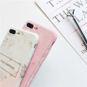 Back+Front Full Body Coverage Case For IPhone 7 7plus 8 8 Plus Marble Case For IPhone 6 6s Plus 360 Protect Free Tempered Glass