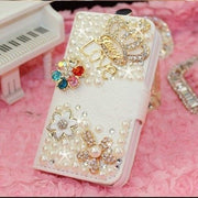 Bling Handmade Glitter Rhinestone Pearl Leather Flip Wallet Protective Case For IphoneX 5 6 7 8 For SamsungS4 S5 S6 S7 S8 S9 N5