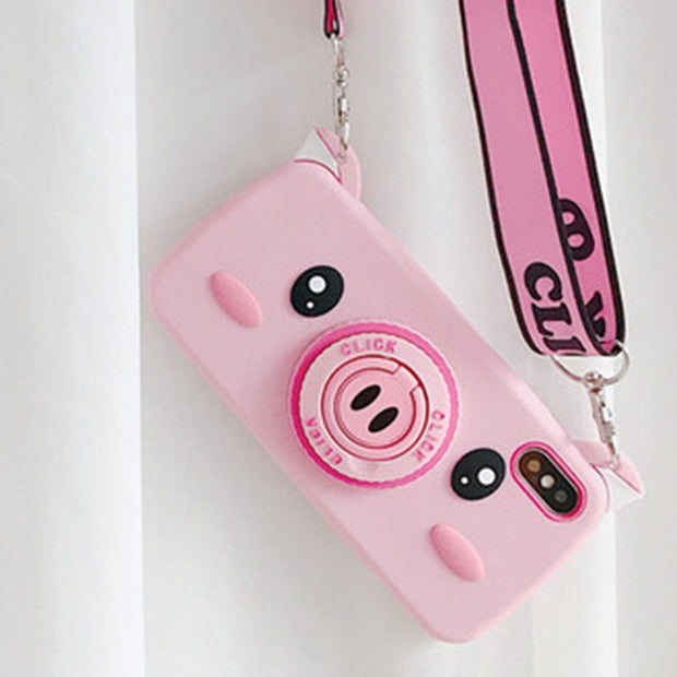 Cartoon Pig Case For IPhone 7 8 6 6S Plus Phone Case Soft Silicone Back Cover Holder Lanyard Case For IPhone XR XS Max Fundas