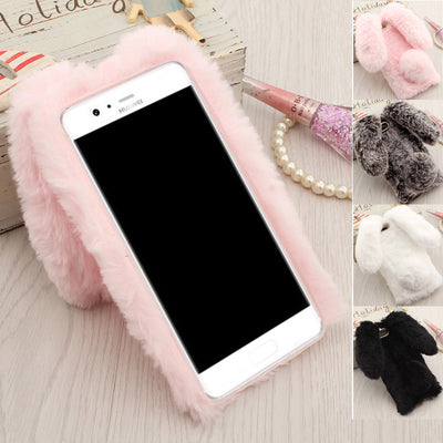 Cases For Huawei P10 Cover,Rabbit Fur Hairy Soft TPU Back Coque For Fundas Huawei P10 Plus Rabbit Ears Keep Warm Pink&Gray&Brown