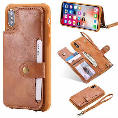 Cases For Iphone X 8 Card Holder Luxury Leather Wallet Soft Silicone Case For Iphone 6s 6 Plus 7 8 Plus Phone Flip Cover Coque