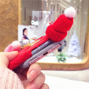 Christmas Pendant Knitted Hat Anti-knock Anti-skid Pink Plush Phone Cases Back Cover For IPhone 6 6s For IPhone 7 8 PLUS Case
