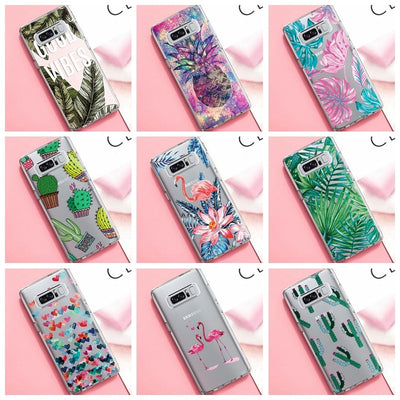 Cute Pink Birds Painted TPU Case For Samsung Galaxy Note 9 8 A9 Star A5 A7 A3 2017 A6 A8 Plus J4 J6 2018 Clear Patterned Cover