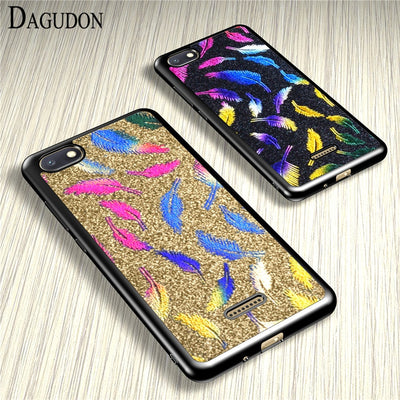 DAGUDON Case For Xiaomi Redmi 6A Cases Xiaomi Redmi 6A Cover Feather Glitter Soft Silicone Phone Back Cases For Xiaomi Red Mi 6A