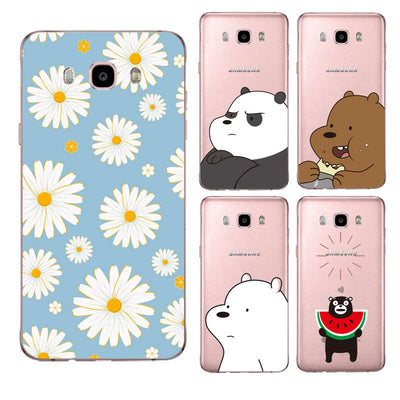 Daisy Soft Clear TPU Phone Case For Samsung J3 J5 J7 S6 S7 S8 Note8 A3 A5 C7 J2prime Kumamoto Bear Flora Cover Free Shipping