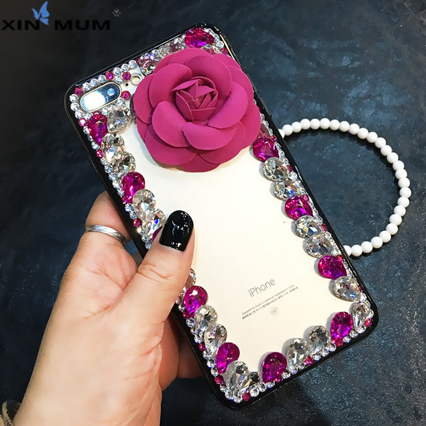 Diamond Rose Flower Strap Phone Case For IPhone X XS Max XR 6 6s 7 8 Plus For Samsung Galaxy Note 9 Note8 S6 S7 Edge S8 S9 Plus