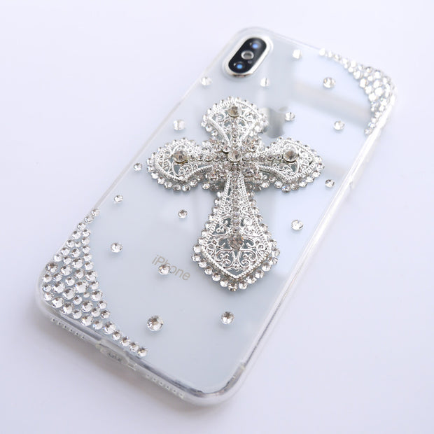 Dir-Maos For IPhone Xs Max Case X XR 8 Plus 7 Plus 6 6s 5 5s SE 5c Women Diamond Cross Cover Christian Bless Minister Church New