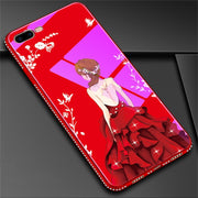 Dower Me Diamond Bumper Beautiful Flower Sexy Dress Goddess Hard Tempered Glass Case Cover For IPhone XS Max XR X 8 7 6 6S Plus